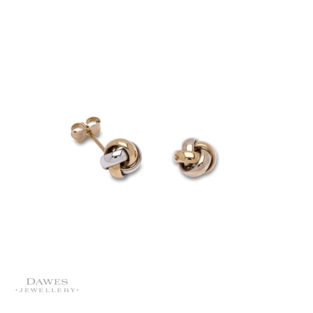 9ct Gold Two Colour Knot Stud Earrings