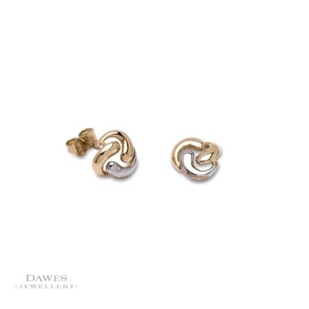 9ct Gold Two Colour Fancy Stud Earrings
