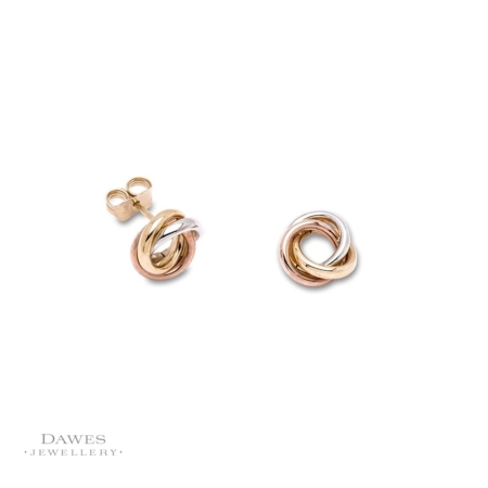 9ct Gold 3 Colour Stud Earrings