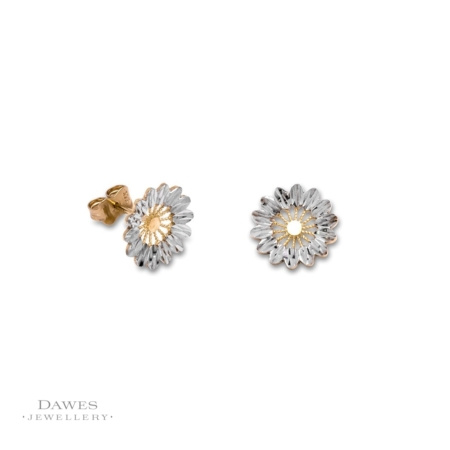 9ct Gold Two Colour Diamond-cut Stud Earrings