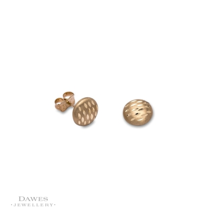 9ct Yellow Gold Diamond-Cut Stud Earrings