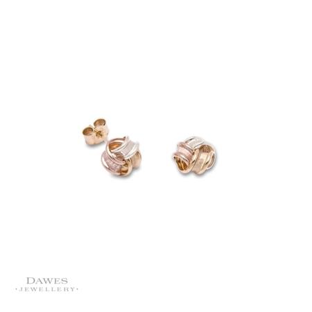 9ct Three Colour Gold Ribbon Stud Earrings