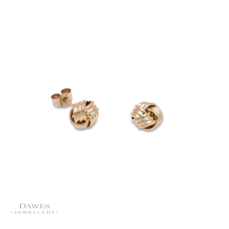 9ct Yellow Gold Triple Knot Stud Earrings