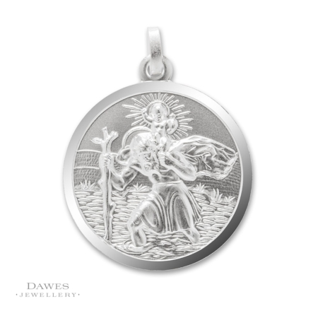 Large Sterling Silver St Christopher Pendant