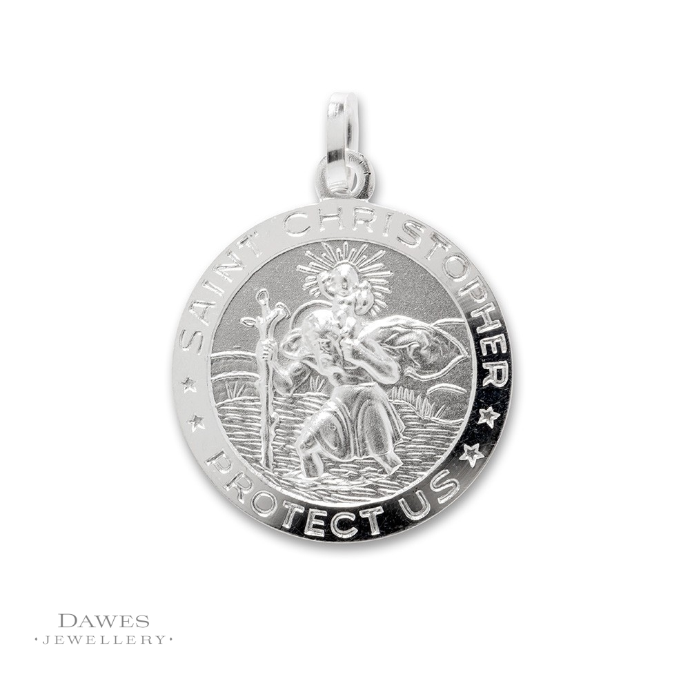 Silver St Christopher Pendant 20mm Double Sided Dawes