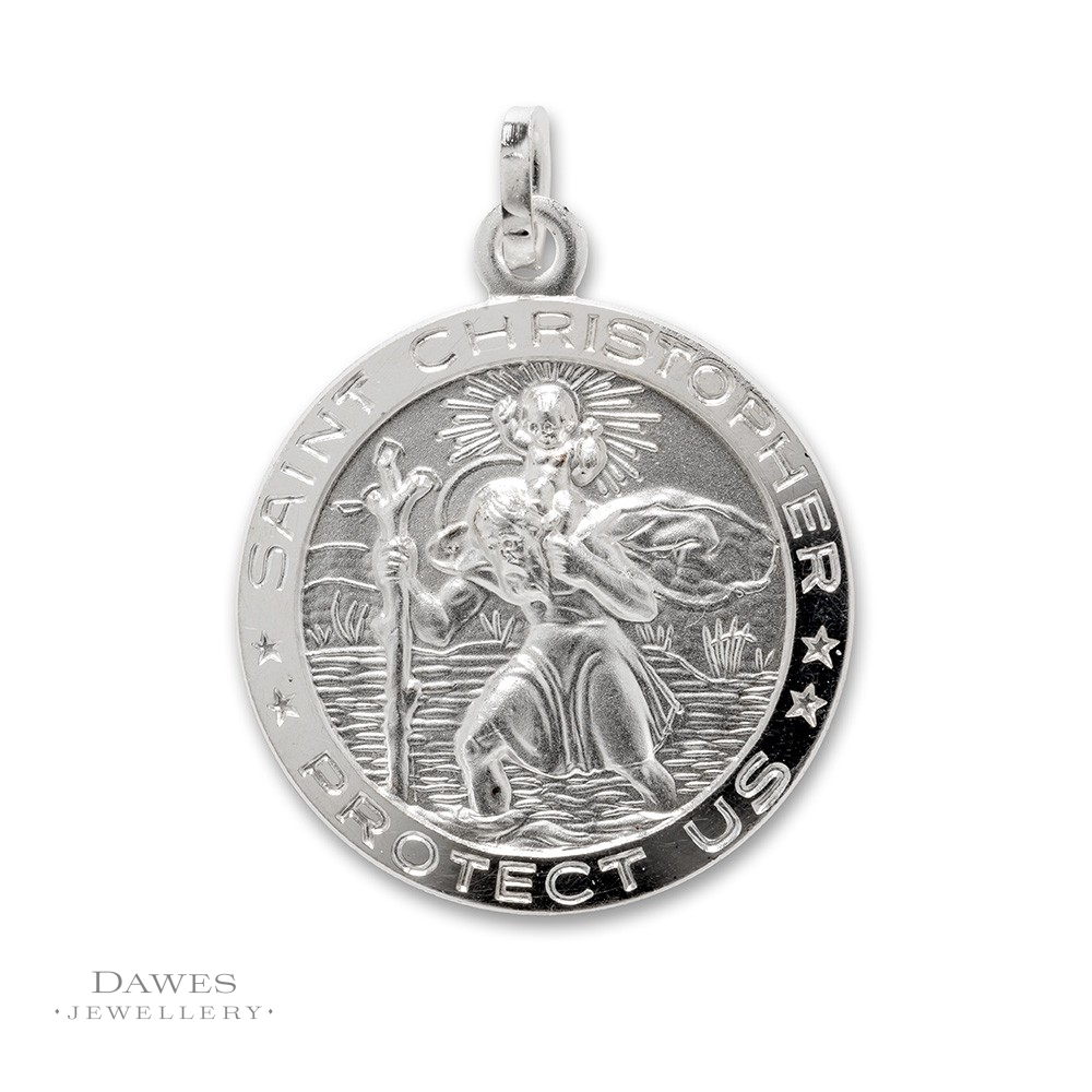 Silver st christopher pendant 22mm double sided dawes jewellery silver st christopher pendant 22mm round mozeypictures Gallery
