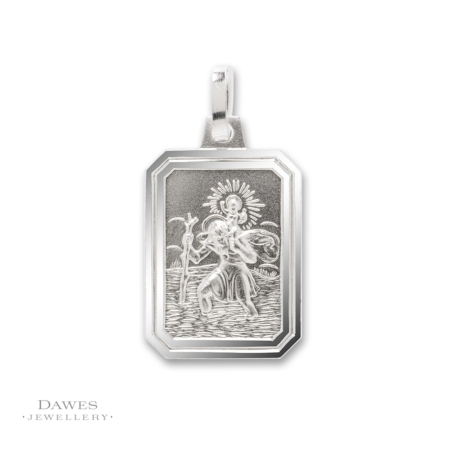 Silver Rectangular St Christopher Pendant 16x12mm