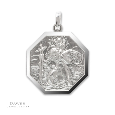 Silver Octagonal St Christopher 20mm Double Sided