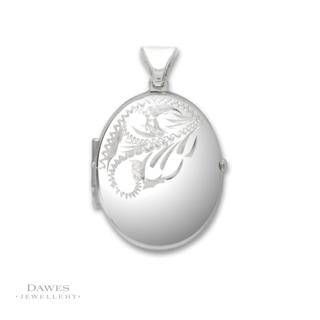 Silver Oval Locket Half Engraved