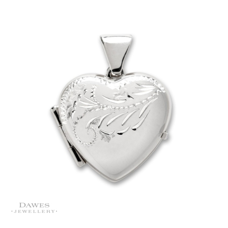 Silver Engraved Heart Shape Locket