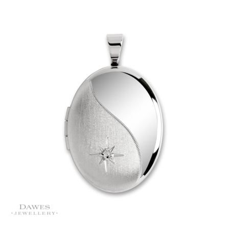 Silver Oval Diamond Set Locket