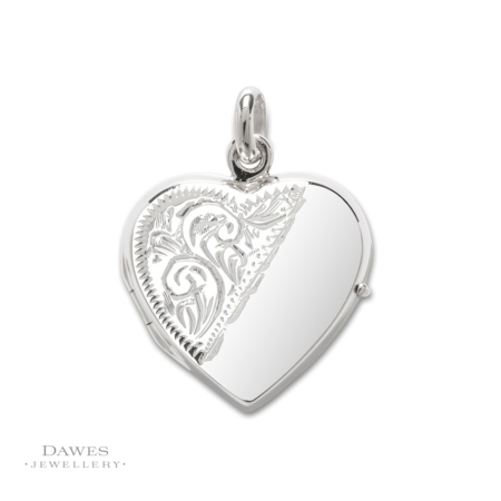 Silver Heart Shape Locket Half Engraved