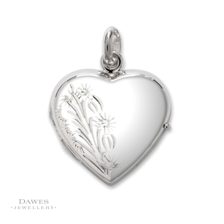 Silver Heart Shape Patterned Locket