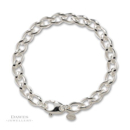 Sterling Silver Fancy Curb Bracelet