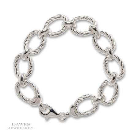 Sterling Silver Twisted Fancy Link Bracelet