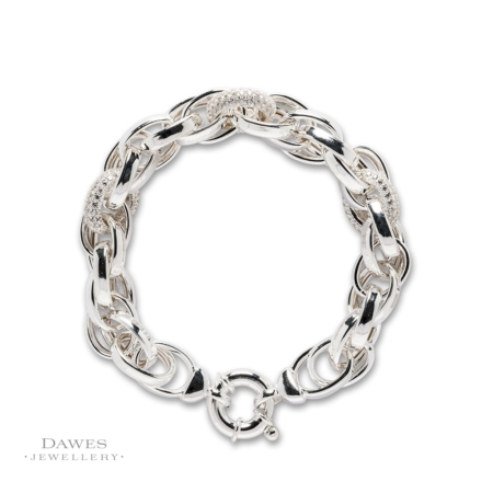 Chunky Silver Bracelet With Cubic Zirconia