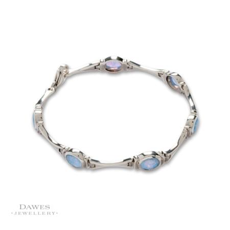 Sterling Silver Imitation Opal Bracelet