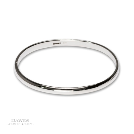Sterling Silver Oval Bangle 5mm Wide