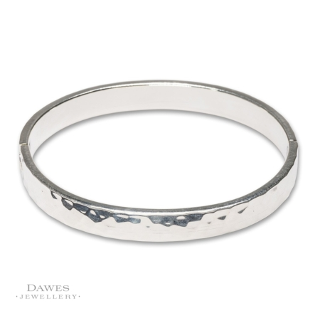 Silver Bangle With Hammered Finish