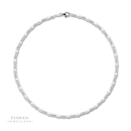 Silver Fancy Bead Necklace 42cm