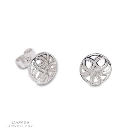 Sterling Silver Patterned Stud Earrings