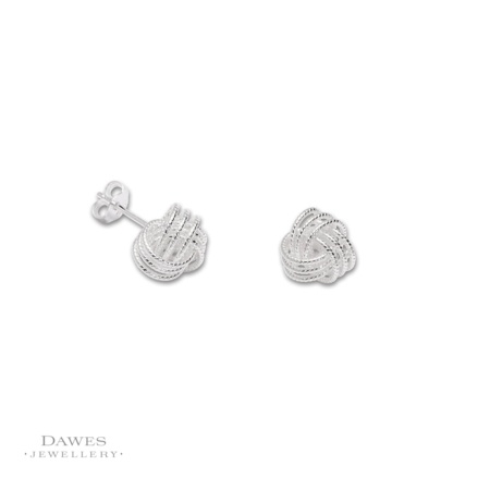 Sterling Silver Knot Stud Earrings 9mm