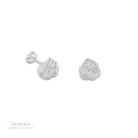 Sterling Silver Knot Stud Earrings 9mm