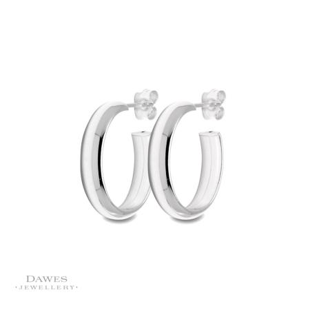 Sterling-Silver Oval Hoop Earrings