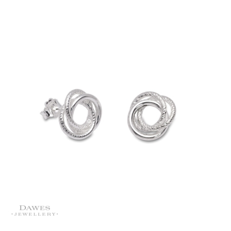 Silver Russian Style Knot Stud Earrings