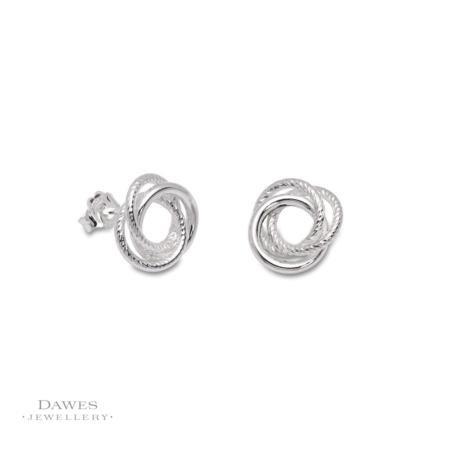 Silver Russian Style Knot Stud Earrings