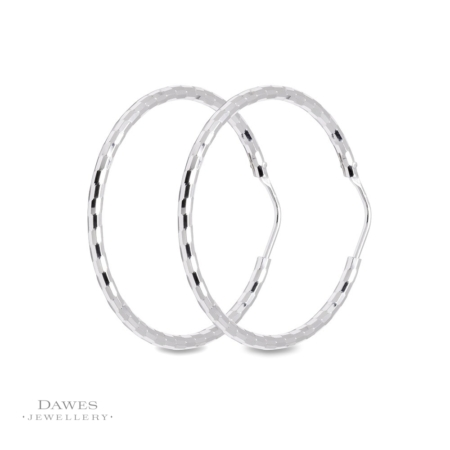 Sterling Silver Diamond Cut Hoop Earrings