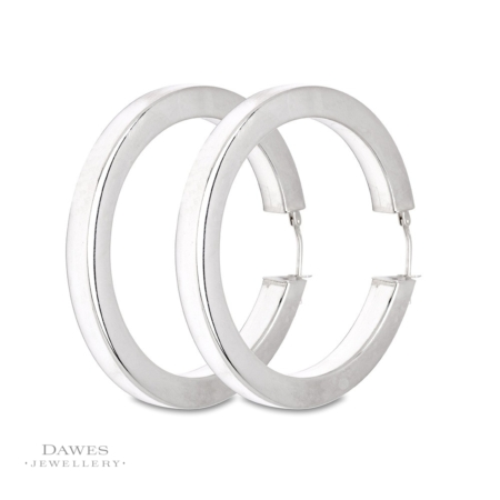 Large Silver Hoop Earrings Square Section