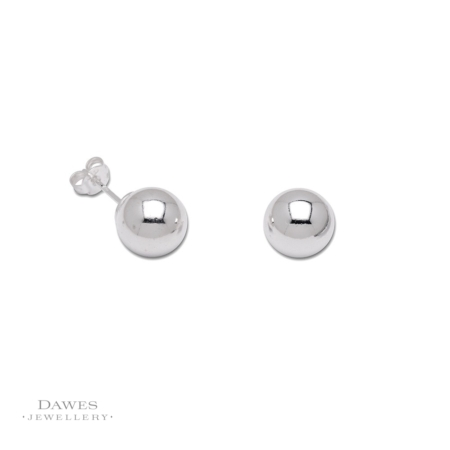 Silver 10mm Ball Stud Earrings