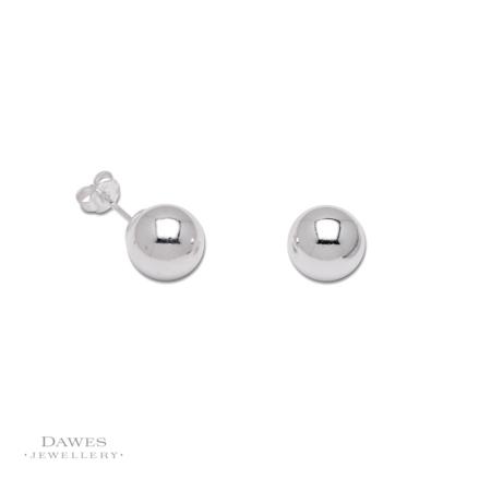 Silver 10mm Ball Stud Earrings