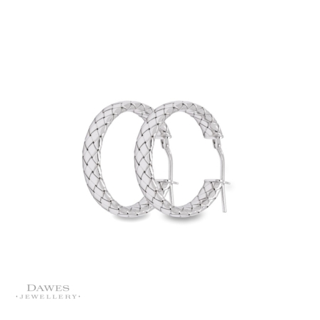 Silver Patterned Hoop Earrings
