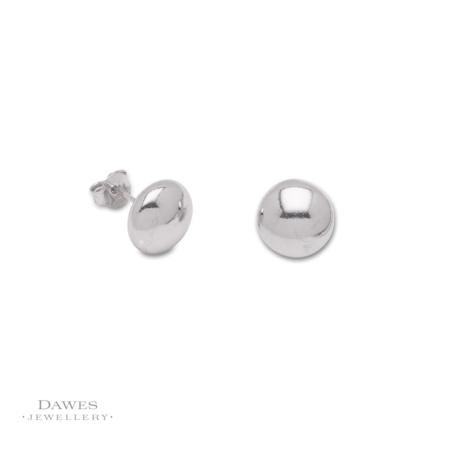 Sterling Silver Button Stud Earrings 12mm