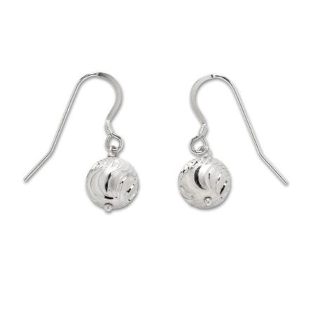 Sterling Silver Glitter Ball Drop Earrings