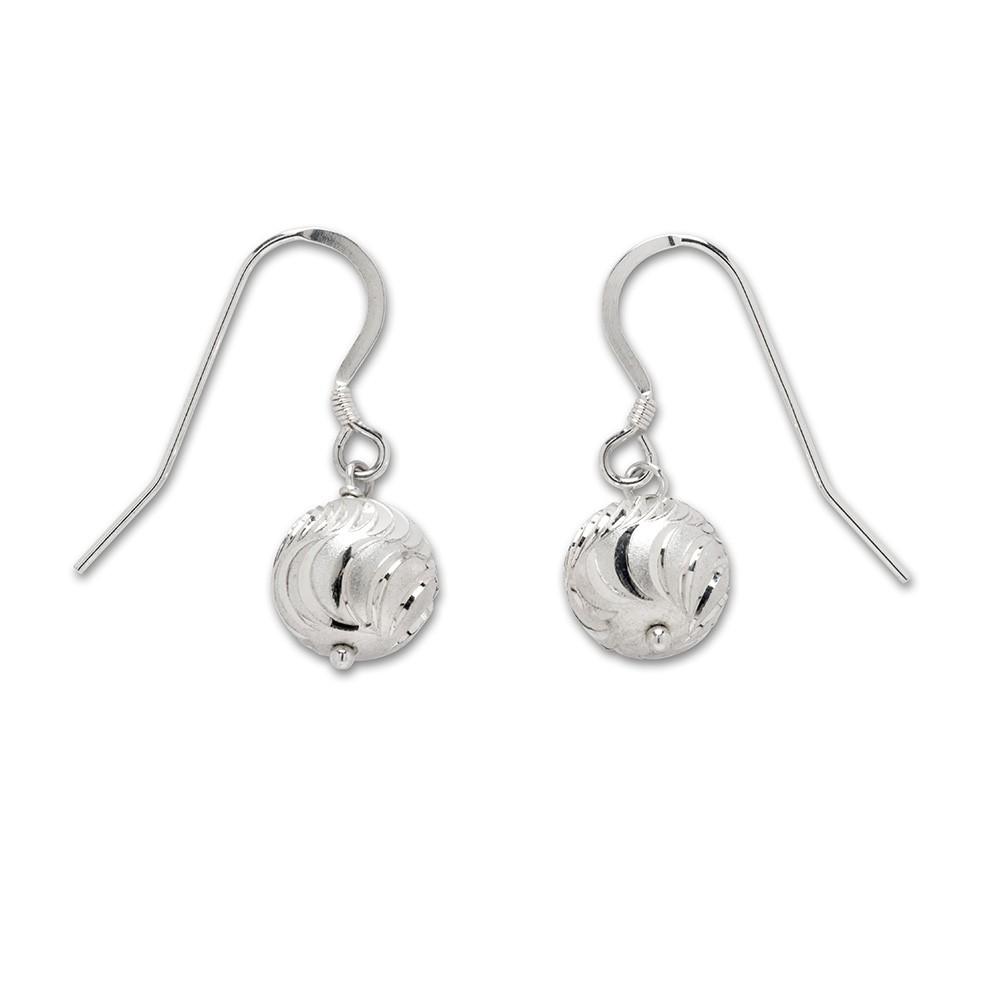 06f59fb4e7b55 Sterling Silver Glitter Ball Drop Earrings