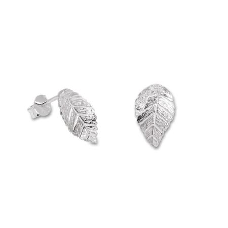 Sterling Silver Leaf Design Stud Earrings