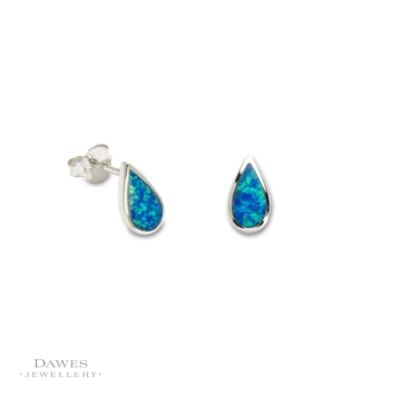 Sterling Silver Imitation Opal Stud Earrings