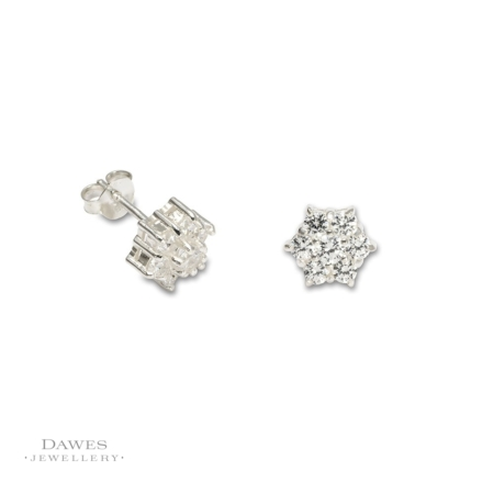 Sterling Silver Cubic Zirconia Cluster Earrings
