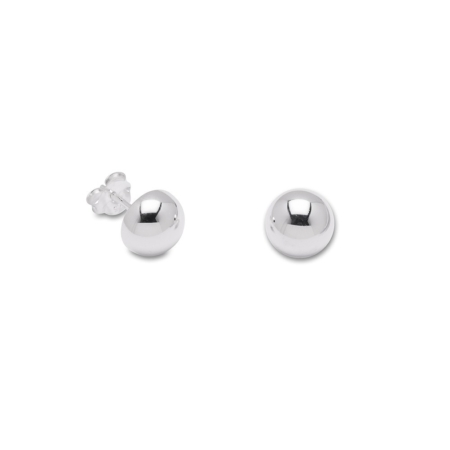 Sterling Silver Button Stud Earrings 8mm