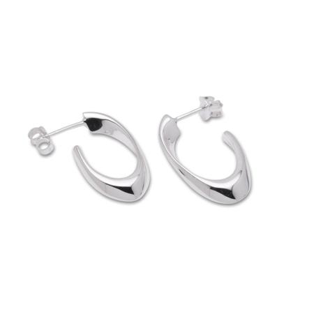 Sterling Silver Fancy Half Hoop Earrings