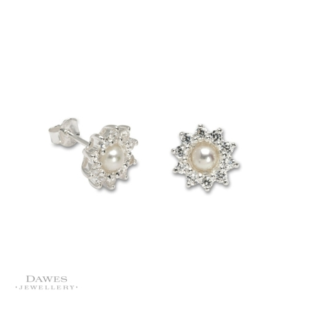 Silver Cubic Zirconia and Pearl Cluster Earrings