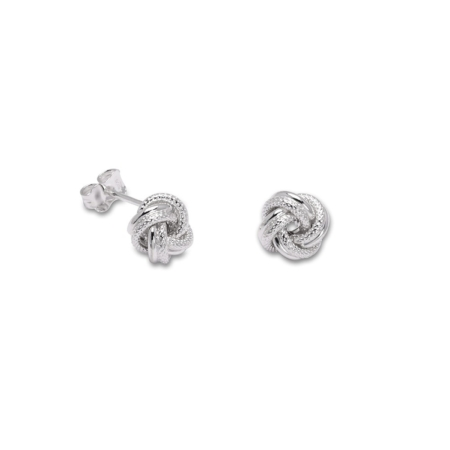 Sterling Silver Knot Stud Earrings 8mm