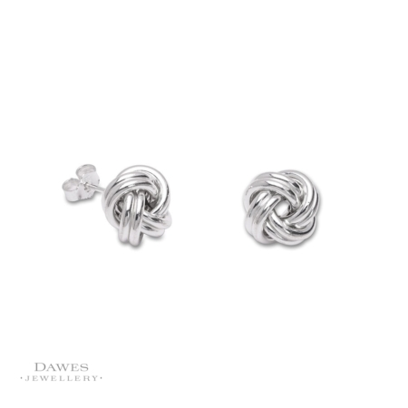 Large Sterling Silver Knot Stud Earrings