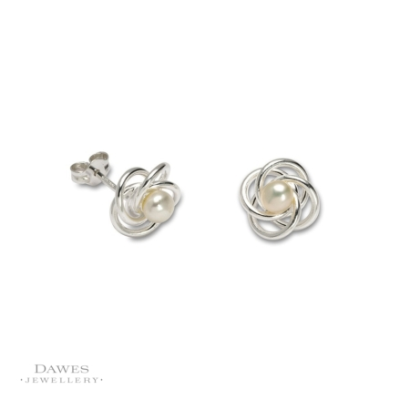 Sterling Silver Pearl Twist Stud Earrings