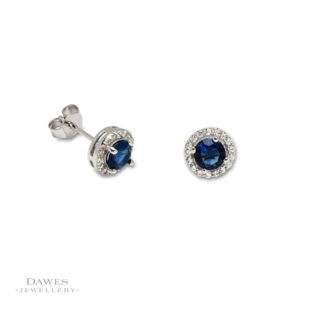 Silver Sapphire and Cubic Zirconia Stud Earrings