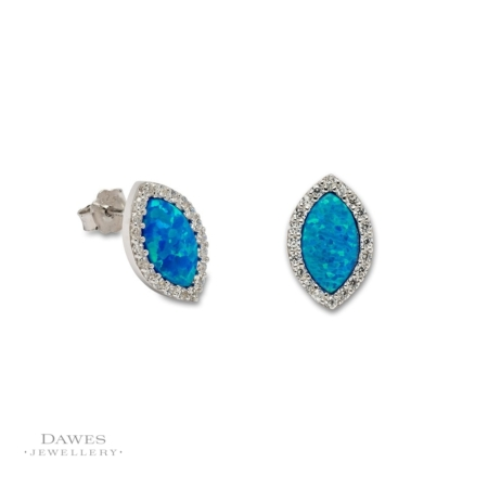 Sterling Silver Synthetic Opal Stud Earrings