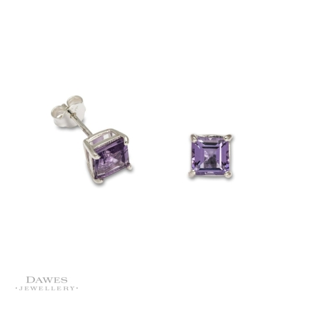 Silver 6mm Square Amethyst Stud Earrings.
